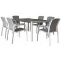 Oxford Textmesh 7PC Dining Setting w/Sling Chairs