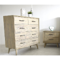 CHICAGO ACACIA WOODEN TALLBOY AND BEDSIDE