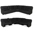 Cairo Corner Modular with 3 Manual Recliners - BLACK